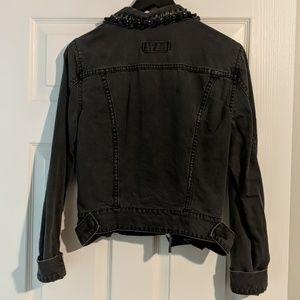 CAbi Jackets & Coats - CAbi Jeans Black Denim Jacket Beaded Jewel Collar